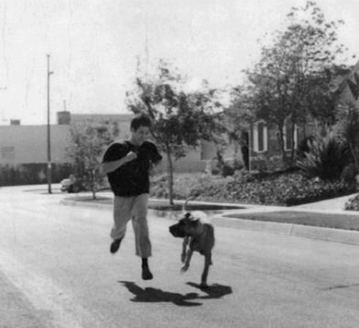 Buce lee workout running with his dog